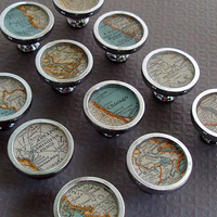 $20.00 Map Drawer Pulls or Handles Cabinet Knobs Custom by sherrytruitt