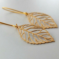 Gold  Leaf Earrings, Nina Dobrev (Elena Gilbert from The Vampire Diaries) Inspired Long Golden Leaf Earrings, Leaf Skeleton Earrings