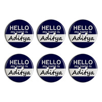 Aditya Hello My Name Is Plastic Resin Button Set of 6