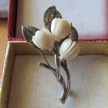 Vintage Ming's  Honolulu Sterling Silver and Carved Ivory Pikaki Flowers Brooch Ca. 1940