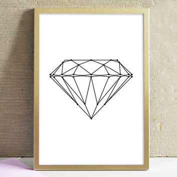 Printable Black and White Diamond Geometric Pattern Modern Wall Art Home Decor Office Decor Art Poster Print