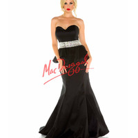 Strapless Black Peplum Mermaid Dress Prom 2015