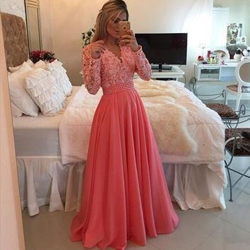 2015 New Arrival V Neck Pearls Lace Bodice Coral Prom Dresses Long Sleeves A Line Long Chiffon Evening Dresses