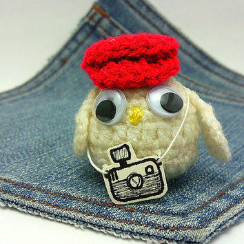 Amigurumi,crochet owl,owl photographer with red hat + camera . Owl plus toy. Owl plushie