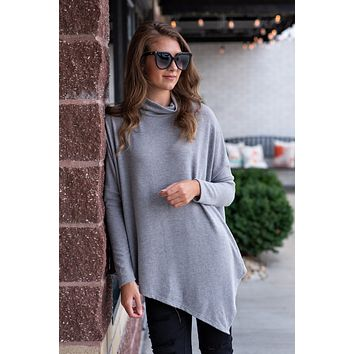 Leave Your Love Long Sleeve Poncho Top : Heathered Grey