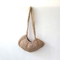 Vintage natural woven shoulder bag / across body crochet purse / braided jute purse