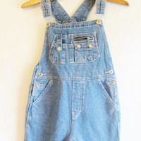 Vintage 1990's High Waisted Denim Overall Shorts