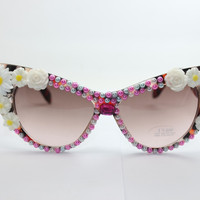 Plastic Floral Pearls Sunglasses Cats Strong Character Beach Mirror [4915289412]