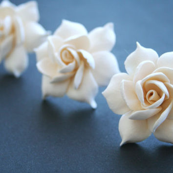 Ivory gardenia - bridal hair pin set, Bridal flower hair pin, Wedding hair pins, Bridal flower pins, Bridal hair flower, Flower hair pins,