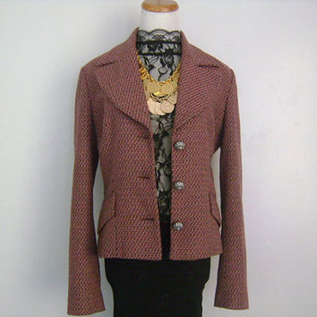 D & G Dolce And Gabbana Made in Italy Wool Blend Pink Maroon Black Tan Every Occasion Jacket Blazer w/Pewter Buttons Crystals Size 30/44 S-M