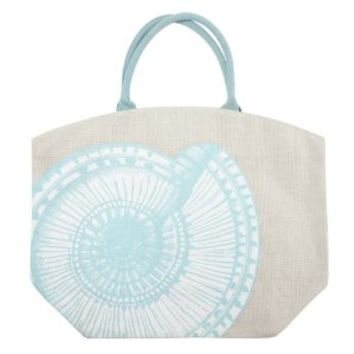 Two's Company Pastel Aquatic Burlap Jute Tote Bag Town City Beach Market (Nautilus Shell)
