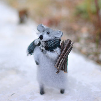 Knitted Grey Mouse Holidays gift ideas, birthday, Decoration, Home Decor, Gift Ideas for her, Good present, Art Sculpture Animal
