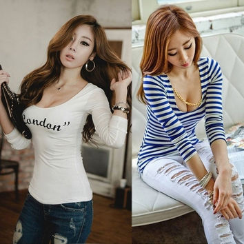 Sexy Women's Tops Blouse Evening Party Slim Long Sleeve T-shirt  19368