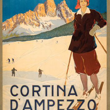 Vintage Poster Reprint Cortina D'Ampezzo 8x11.5 PopMount Ready to Hang FREE SHIPPING