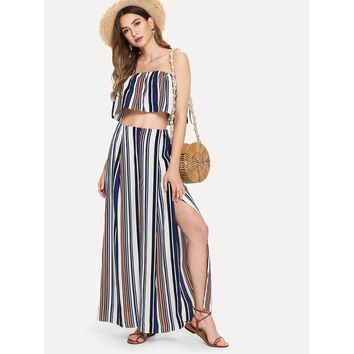 Striped Tube Top With Split Pants MULTICOLOR