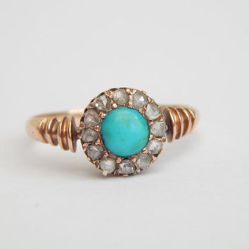 victorian turquoise ring - 18ct rose gold with old cut diamonds