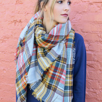 Wrapped In Wonder Gray & Mustard Plaid Frayed Edge Blanket Scarf