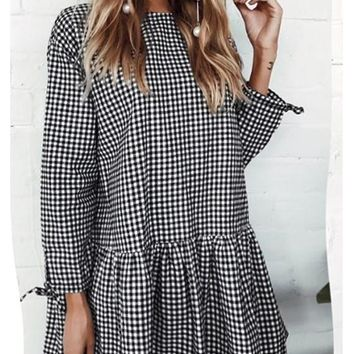 Casual Black-White Plaid Peplum Single Breasted Round Neck Long Sleeve Mini Dress