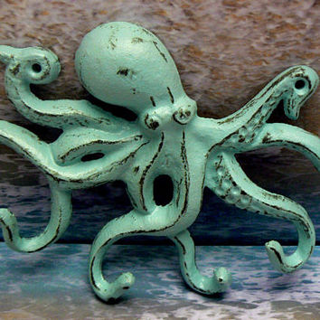 Octopus Cast Iron Tentacle Hook Nautical Pet Leash Scarf Jewelry Shabby Cottage Chic Beach Blue Distressed Beach House Nursery Sea Creature