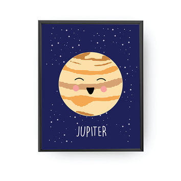 Jupiter Print, Kids Decoration, Cute Planet Art, Classroom Decor, Nursery Decor, Solar System, Kids Learning, Planet Art, Typography Poster