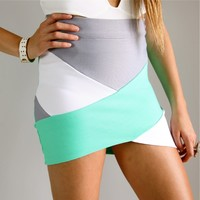 GREY MINT WHITE COLOUR BLOCKED BANDAGE WRAP TUBE DISCO SKIRT 6 8 10 12