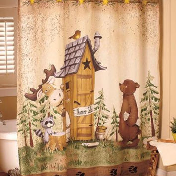 Shower Curtain Nature Calls Outhouse Cabin Lodge Country Bear Raccoon Whimsical
