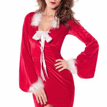 LMFUNT 2016Newly Winter Party Club Red Christmas Costumes Sexy Drag Back Mistress Long Santa Dress For Women New Year Clothes LC7210