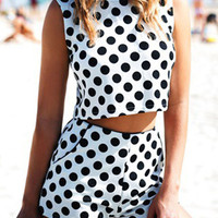 White Polka Dot Sleeveless Crop Top with High Waist Shorts