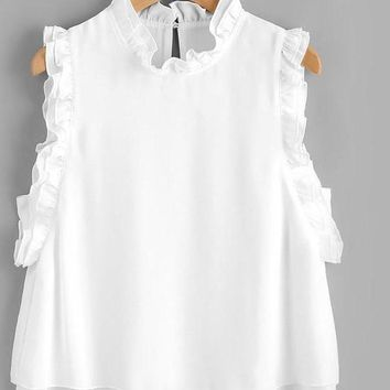 Ruffle Layered Ladies Shell Blouse White Eelgant Tops Sleeveless Women Summer Tops Keyhole Back Cute Tunic Blouse