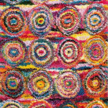 nuLOOM Kindra Circles Shaggy Multi-Color Rug