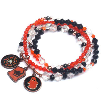 Halloween bracelets, spooky jewelry, halloween charm bracelet, spider web, Halloween jewelry, black cat bracelet, orange bracelet, halloween