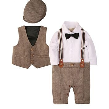 Long Sleeve Gentleman Jumpsuit and Vest with Beret Hat and Bow Tie - Brown, Sizes 0 - 18 Months