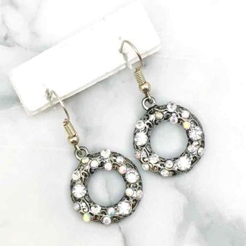 AB Crystal Accented Silver Earrings