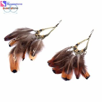Earrings Bohemian Tassel Feather Vintage Hollow Fringed Bead Feather Clip Earrings for Women