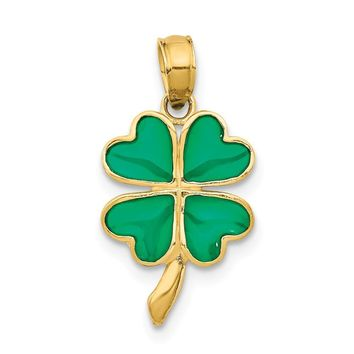 14k Yellow Gold Translucent Acrylic 4 Leaf Clover Pendant, 10mm