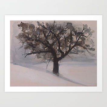 WOODLAND WINTER TREE LANDSCAPE WATERCOLOR PAINTING  Art Print by Whitefield Studio