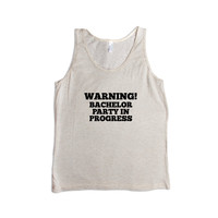 Warning Bachelor Party In Progress Groom Bride Best Man Bridesmaid Engaged Wedding Married Marriage Husband Wife SGAL8 Men's Tank