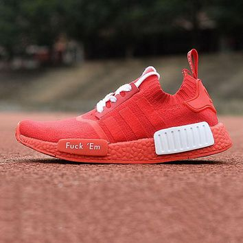 Supreme x Adidas Consortium NMD R1 Fuck Em Red Boost Sport Running Shoes Classic Casual Shoes Sneakers