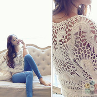 hairpin lace top oversize lace blouse crochet crop top summer beach cover up