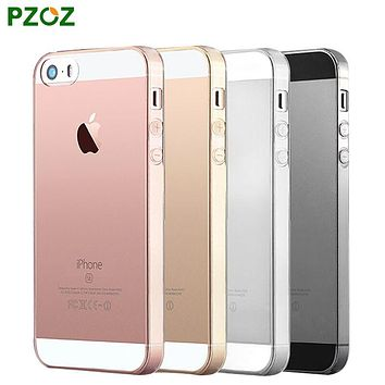 PZOZ For iPhone 5SE Silicone Case For Apple iPhone 5 Silicon Case Transparent 360 Supreme Black Pink 3D Mobile i Phone S SE