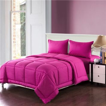 Tache 3-4 Piece Solid Hot Pink Box Stitched Comforter Set