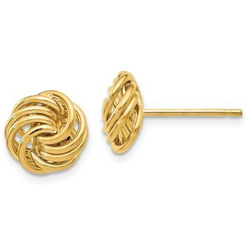 11mm (7/16 Inch) 14k Yellow Gold Polished Love Knot Stud Earrings