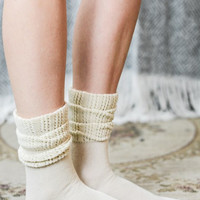 Ruffled Ankle Boot Socks - Ivory