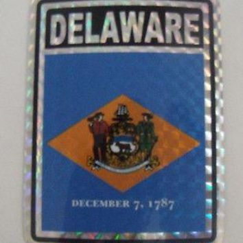 "Delaware Flag Reflective Sticker 3""x4"" Inches Adhesive Car Bumper Decal"