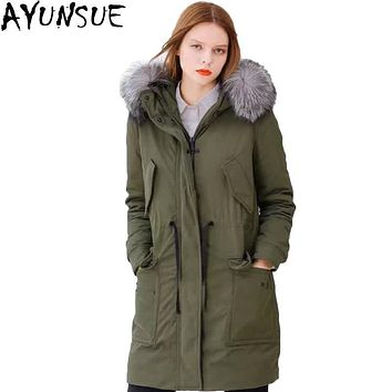 AYUNSUE Goose Down Jacket Women Winter Coat Luxury Natural Fox Fur Collar Loose Parkas Hooded Long Coat Thick Outerwear  LX157