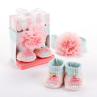 Baby Cakes Cupcake Headband and Booties Gift Set