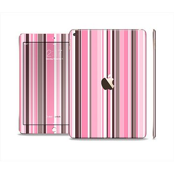 The Pink and Brown Fashion Stripes Skin Set for the Apple iPad Air 2