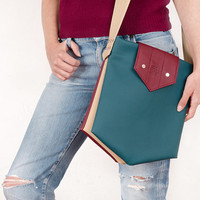 Messenger bag, vegan leather shoulder bag