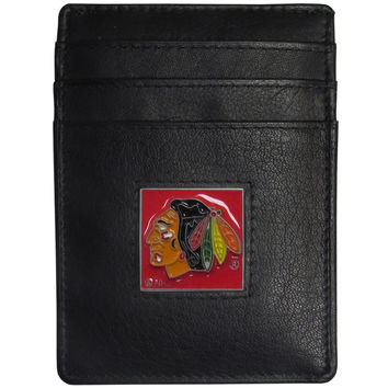 Chicago Blackhawks Leather Money Clip/Cardholder Packaged in Gift Box