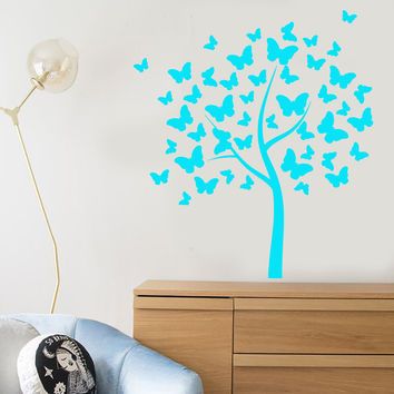 Vinyl Wall Decal Butterfly Art Tree Nature Decor For Nursery Stickers Unique Gift (1346ig)